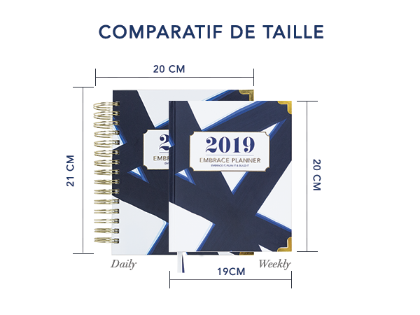 Embrace Planner - Comparatif Taille Agenda Embrace Planner