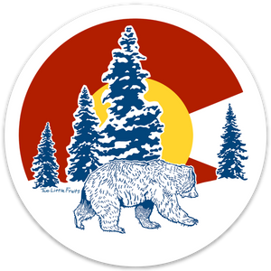 Colorado Flag Bear Sticker