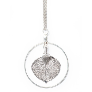 Real Aspen Leaf Silver Hoop Necklace