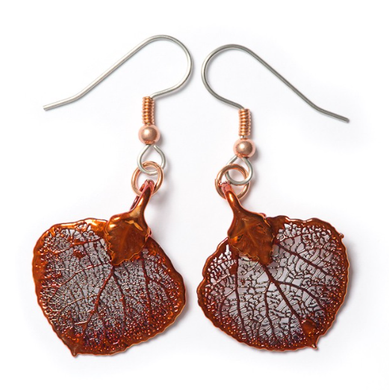 Real Aspen Leaf Iridescent Copper Earrings