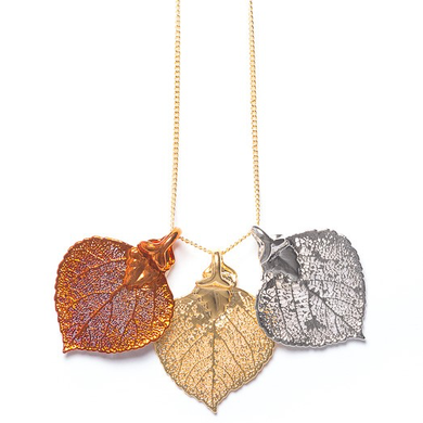 Real Aspen Leaf Triple Leaf Necklace