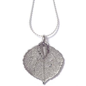 Real Aspen Leaf Silver Necklace