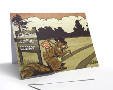 Happy Trails Hobo Squirrel Greeting Card
