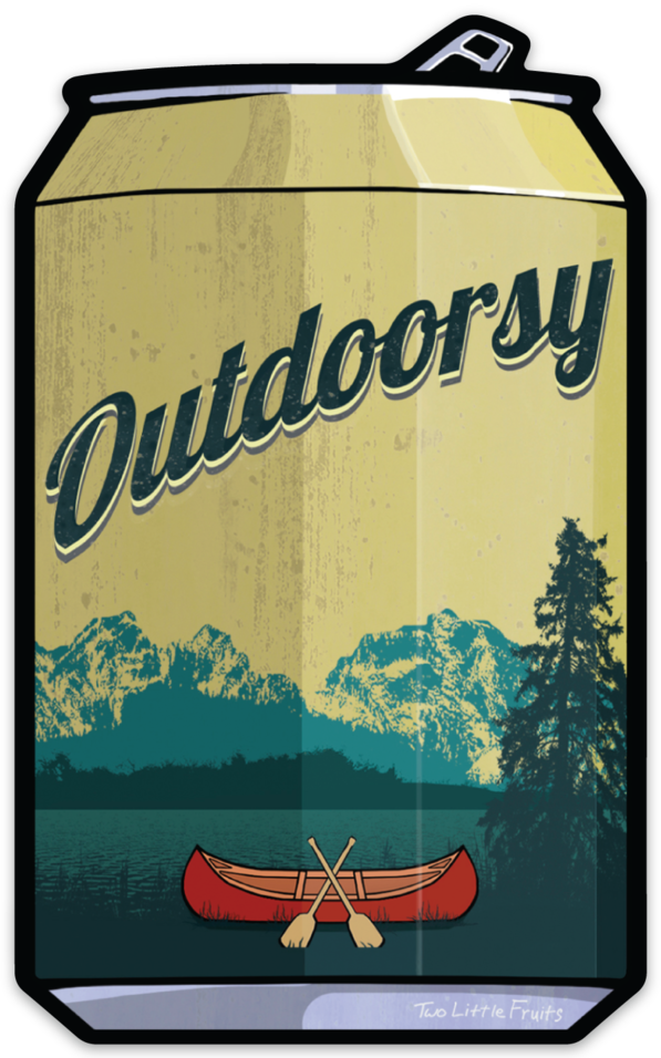 Outdoorsy Beer Can Sticker