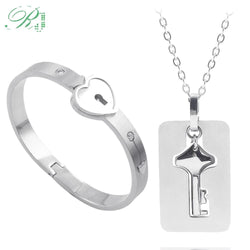 Love Couple Heart Lock Bracelet with Lock Key Pendant Titanium Steel Sets