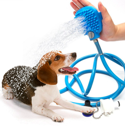 Dog Bathing Tool Combination of Shower Sprayer and Scrubber