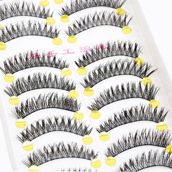 10 pairs Handmade Soft Cross False Eyelashes Beauty Makeup Long Eye lashes