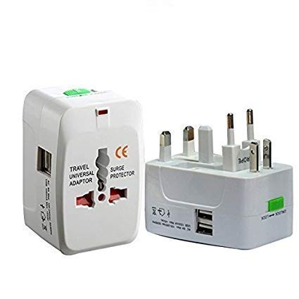 Universal Travel Adapter with Built in Dual USB Charger Ports with 125V 6A, 250V Surge-Spike Protected Electrical Plug