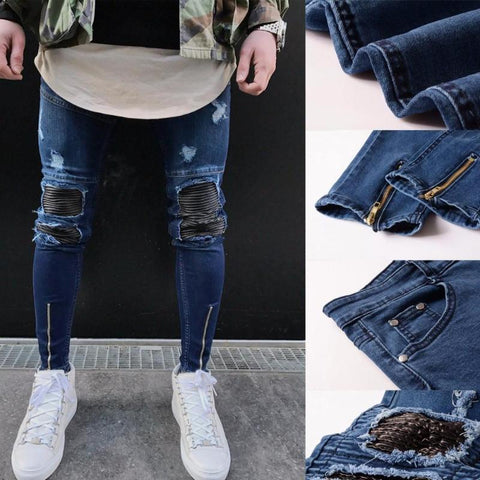 Ripped slim motorcycle jeans