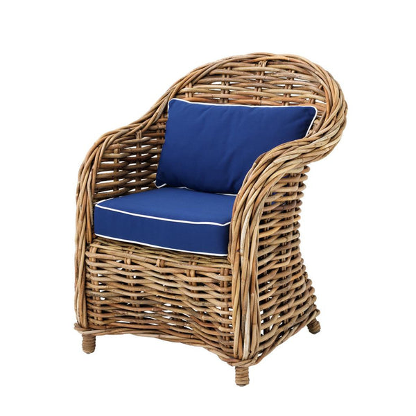 rattan wicker boho chair with blue cushion