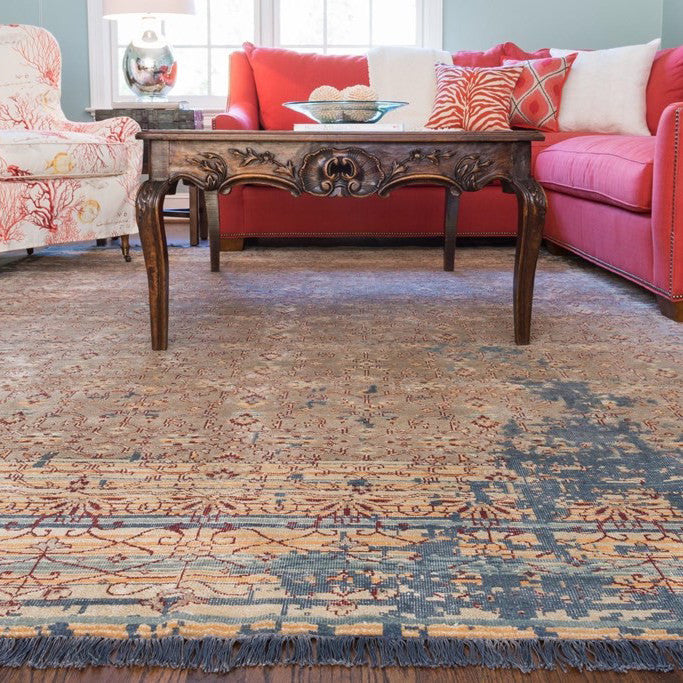 hand knotted india rug fring coral blue cream