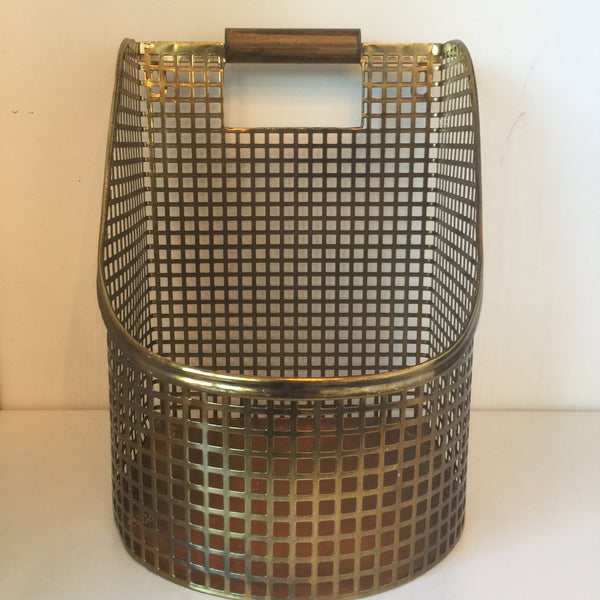 Brass Basket with Wooden Handle Large