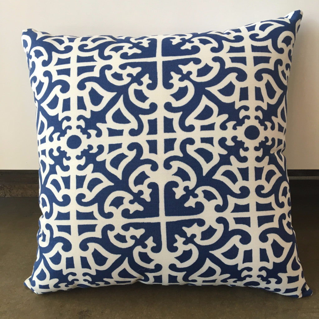 Blue/White Patterned Pillow