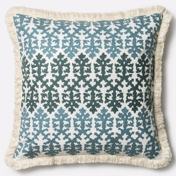 blue and cream fringe pillow