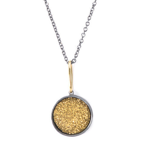 Gold Drusy Round Necklace