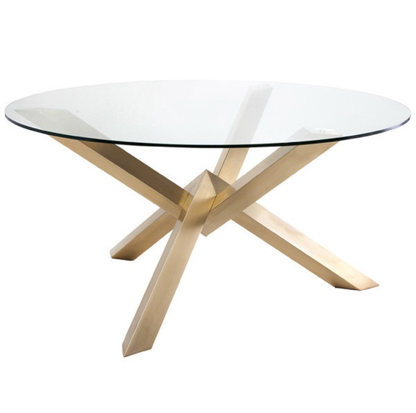 gold round modern dining table glass