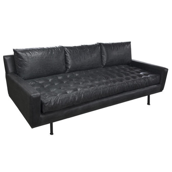 Bon Black Leather Sofa, Sofa, Tufted Sofa, Masculine Sofa, Designer Sofa,