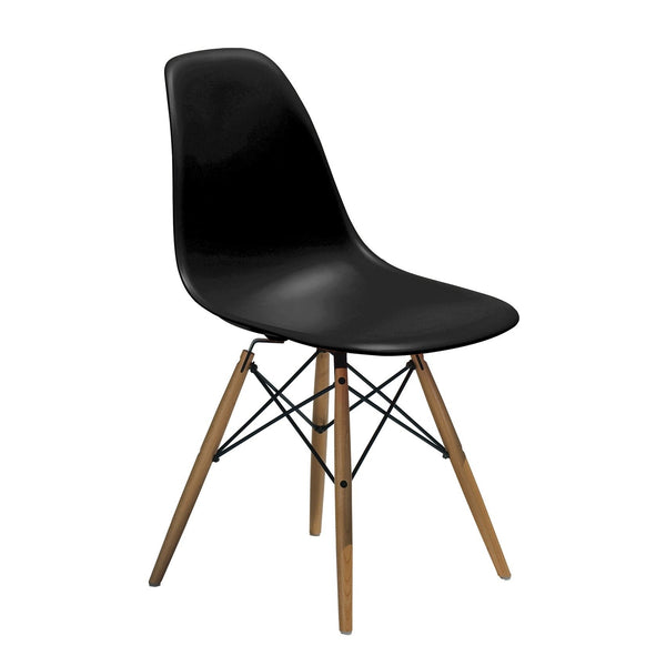 Black Eiffel Chair with Wood Legs