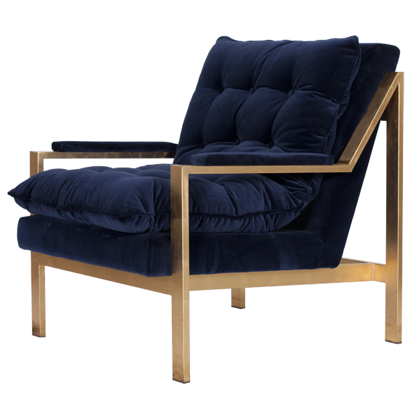 navy blue tufted modern chair with gold base