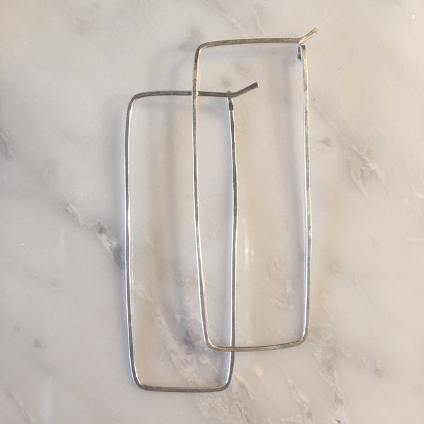 Hand Hammered Rectangle Earrings