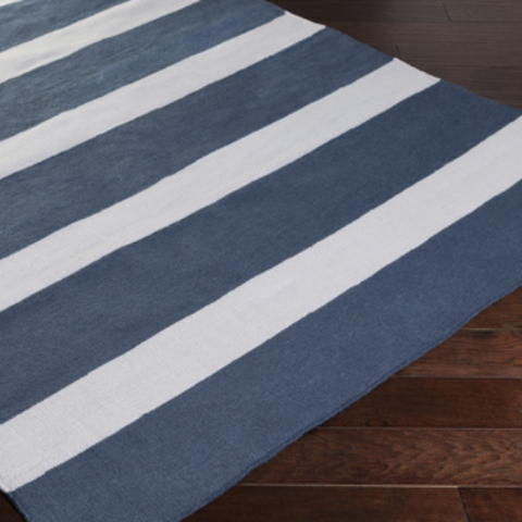 blue rug, striped rug, blue and white striped rug