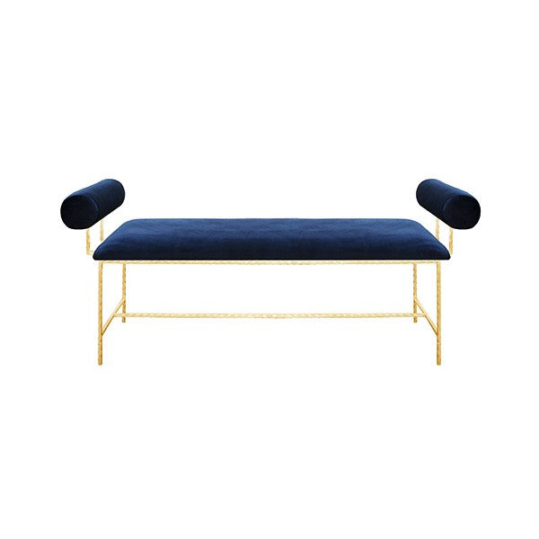 bench, designer bench, bolster bench, blue velvet furniture, furniture, designer furniture