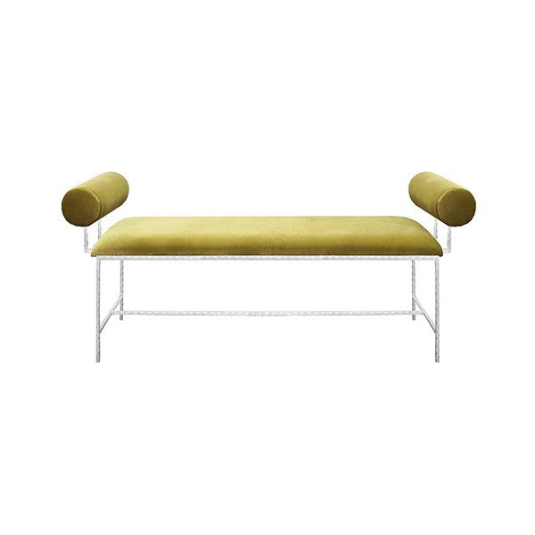 bench, designer bench, bolster bench, green velvet furniture, furniture, designer furniture