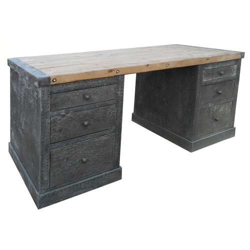 Hammered Zinc Desk With Old Wood Top