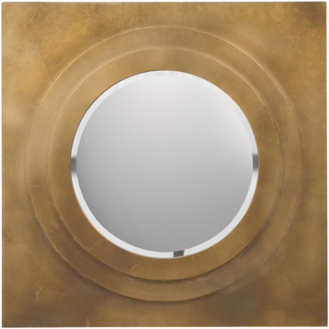 Gold Square Round Mirror