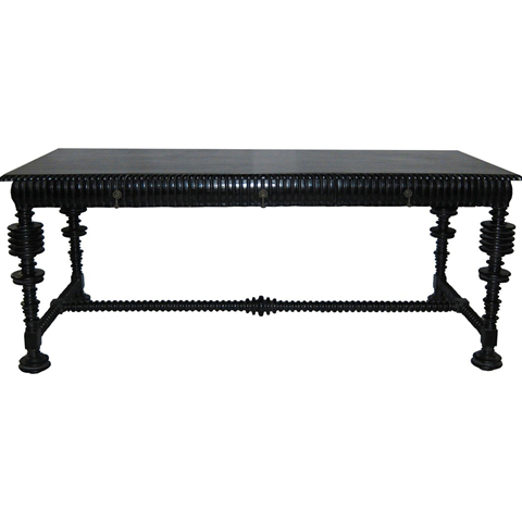 Portuguese Desk, noir furniture, noir, turned leg table, desk, designer design, home office, home office furniture, to the trade