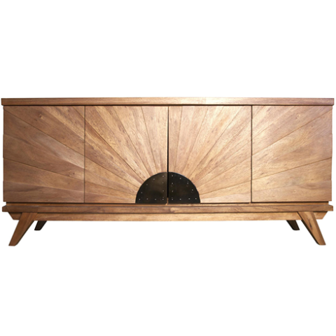 mid century modern, mcm furniture, starburst credenza, credenza, console table, cabinet, dining storage,