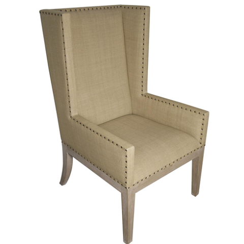 linen chair, wing back chair, linen wing back chair, modern chair, head of table chair, dining chair, dining chairs,