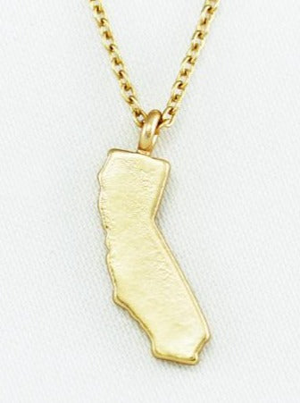 Gold California Dainty Charm Necklace