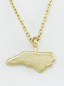 Gold North Carolina State Dainty Charm Necklace