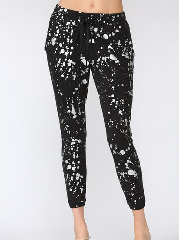 Black Foil Paint Splatter Sweatpants