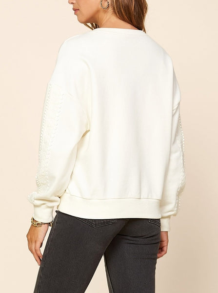 Ecru Eyelet Lace Sleeve Sweater
