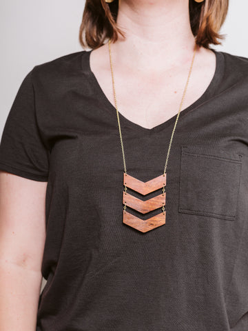 Wood Chevron Necklace