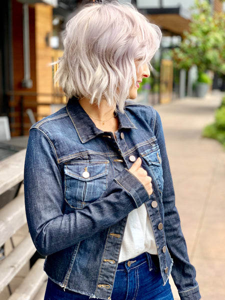 Dark Wash Kara Jacket No Wst With Fray
