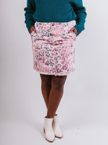 Pink Animal Printed Mini Skirt