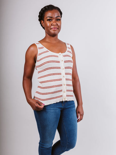 Ecru Combo Sleeveless Top