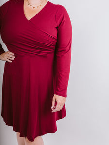 Burgundy Plus Long Sleeve Wrap Flared Dress