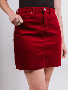 Cherry Pop Suede Skirt
