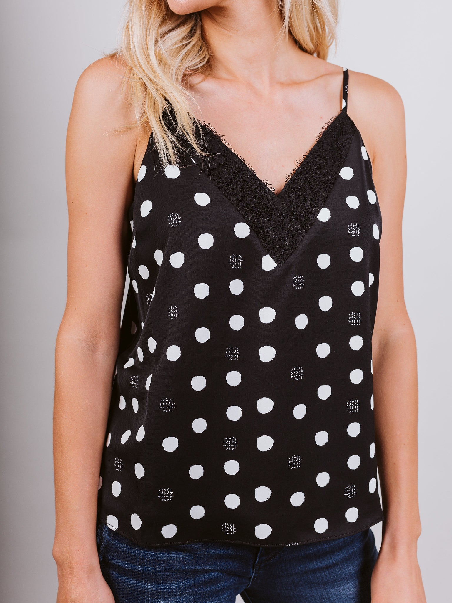 Black & White Butterfly Polka Dot Top