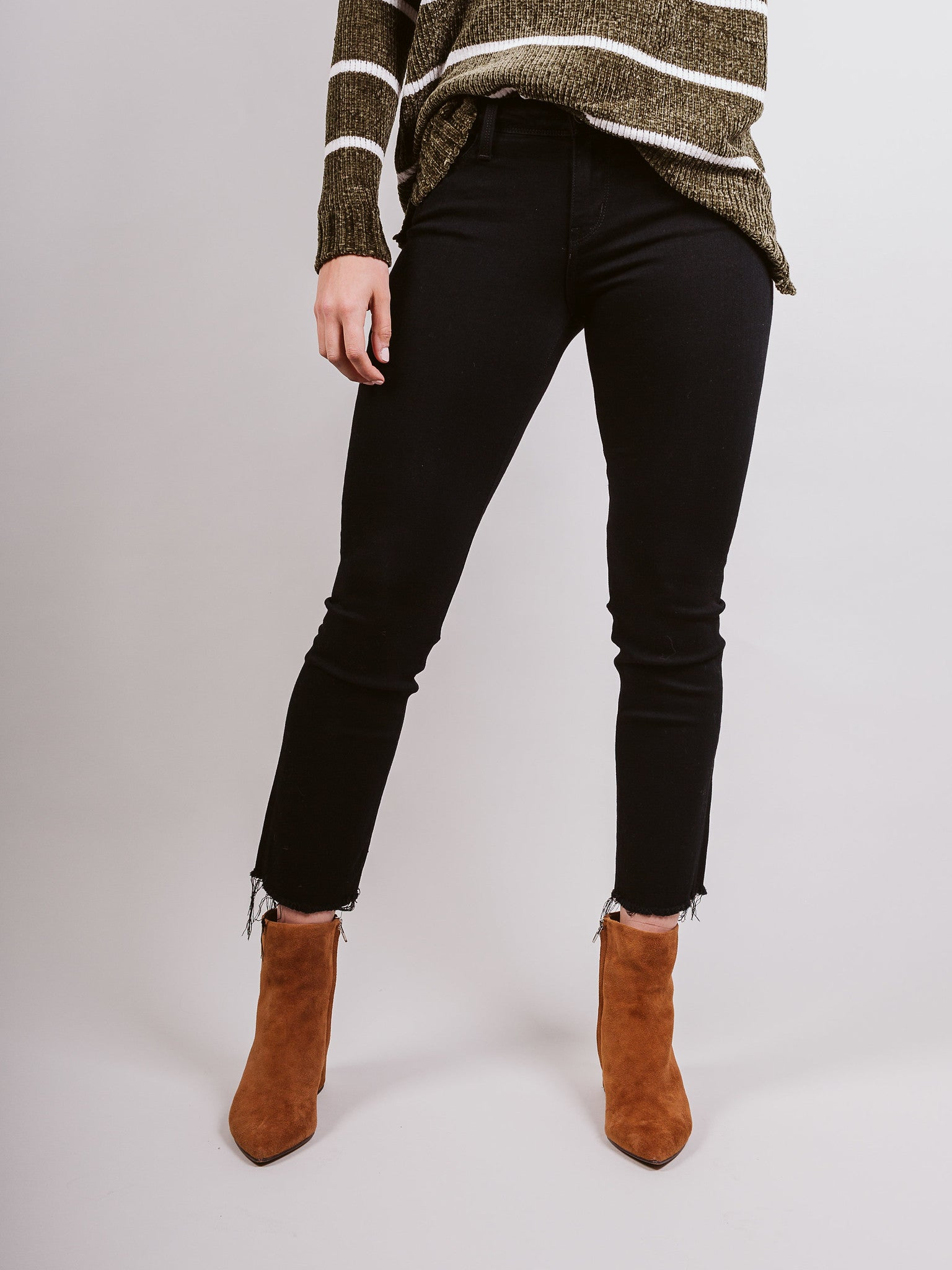 Black Mid Rise Cropped Raw Hem Straight Leg