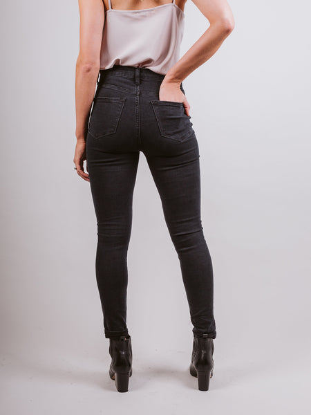 Scar Super High Rise Button Skinny Jeans