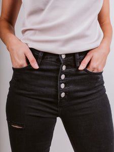 Scar Super High Rise Button Up Skinny Jeans