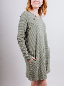 Olive Striped Longsleeve Round Neck Dress