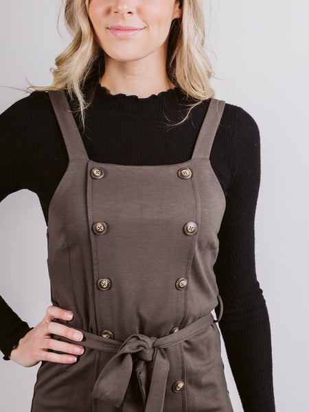 Olive Front Button Detail Dress
