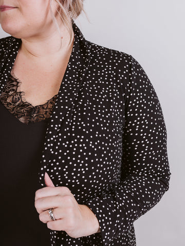 Black Polka Dot Plus Blazer