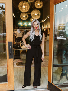 Black Sleeveless Cowl Neck Jumpsuit